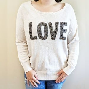 Torrid | Love Embellished Cream Color Sweater